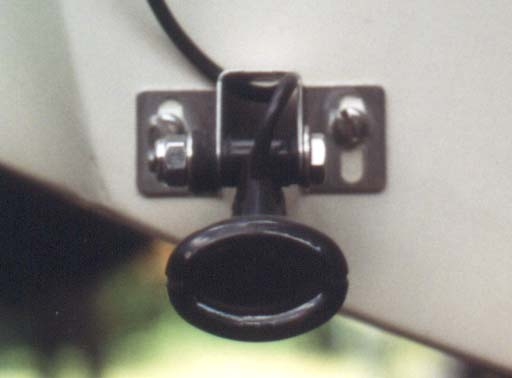 [Photo: Transducer mounting on transom