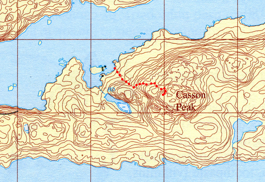 Map showing route of assent to Casson Peak