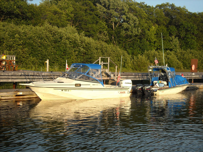 Photo: Two classic Boston Whaler boats at Killbear Marina, Parry Sound region, Ontario.