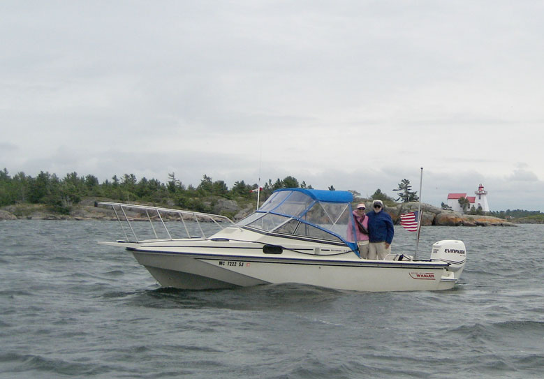 Photo: Chris Wilson and Jim Hebert aboard CONTINUOUSWAVE, near Pointe Au Baril, Ontario.