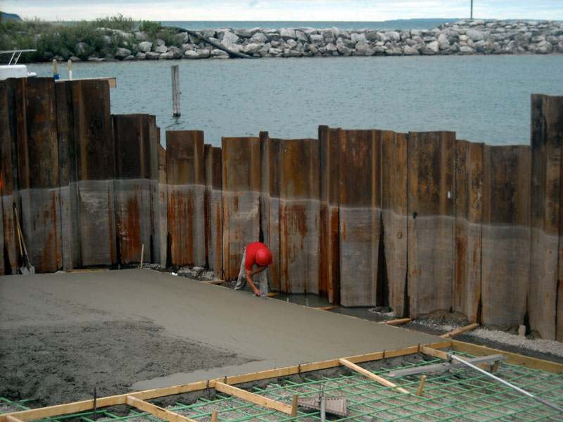 New ramp under construction at Leland Harbor