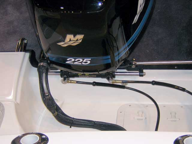 Photo: 2004 Boston Whaler 305 CONQUEST with Optimax 250 engine showing primer bulb installation