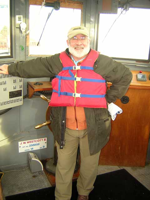 Photo: John Flook (kingfish) at helm of pilot boat J. W. WESTCOTT II.