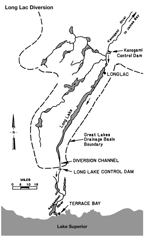 Diagram: diversion of water into Aquasabon River at Terrace Bay, Ontario