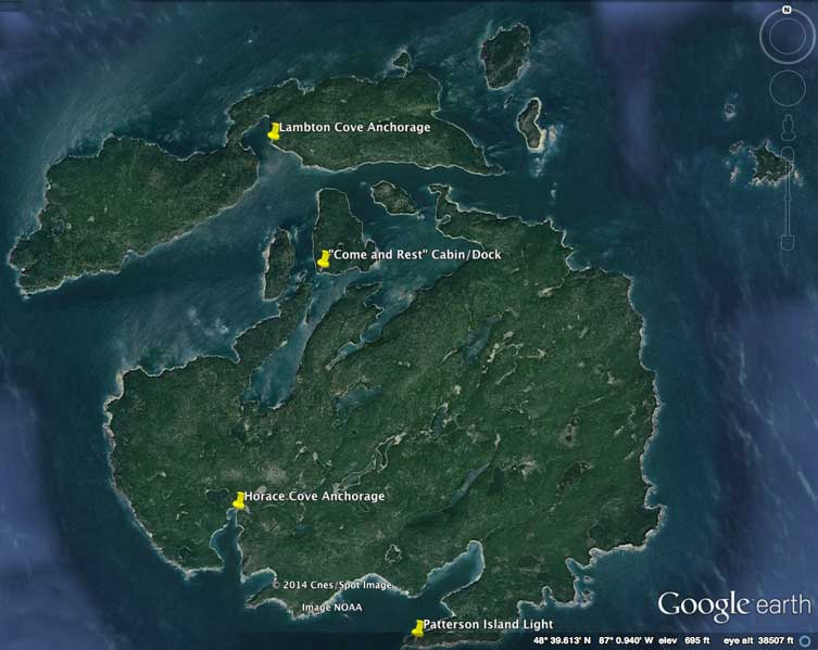 Map from Google Earth of Slate Island, Lake Superior, Ontario, Canada