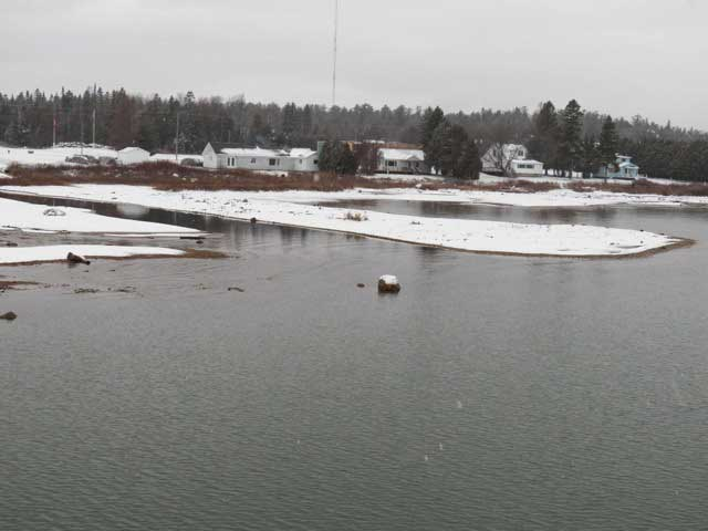 Photo: Launch ramp channel at Detour Village, Michigan, in December 2012 with very low water level.