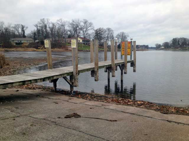 Photo: Boat launch ramp with low water.