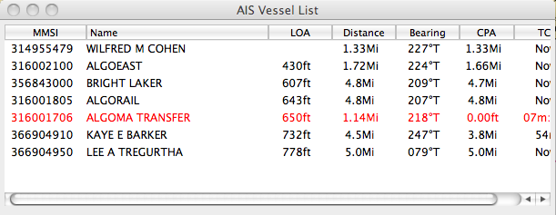 Screen capture of AIS Vessel listing