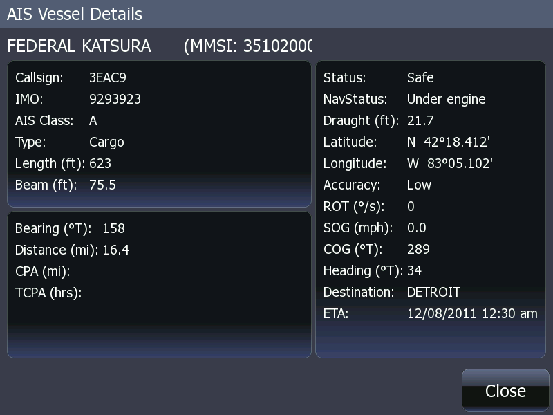 Screen capture of HDS-8 showing AIS vessel information screen