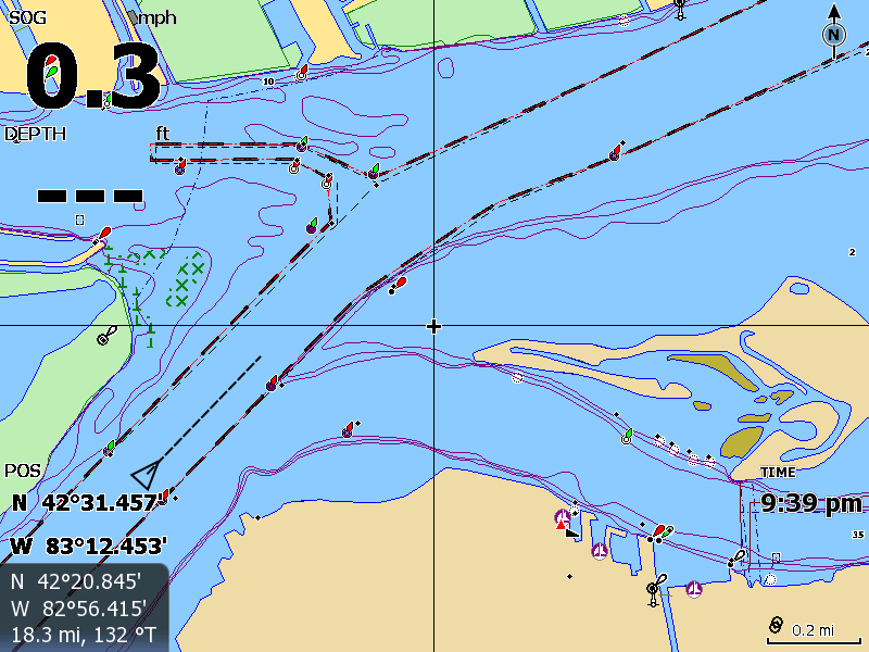 Screen capture from HDS-8 chart plotter showing vessel KAREN ANDRIE navigating in Detroit River.