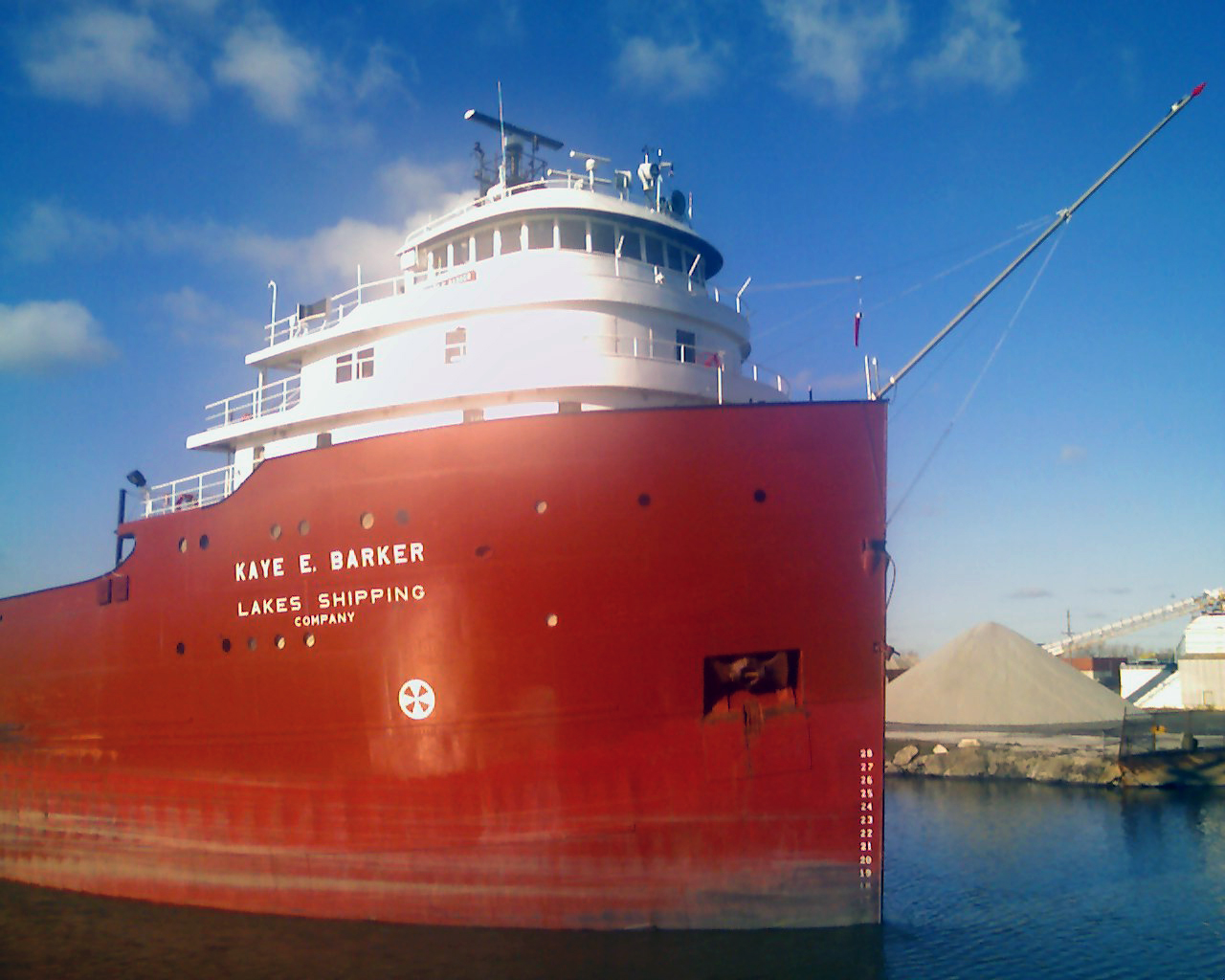 Vessel KAYE E. BARKER underway, Rouge River at West Jefferson Aveneue bridge.