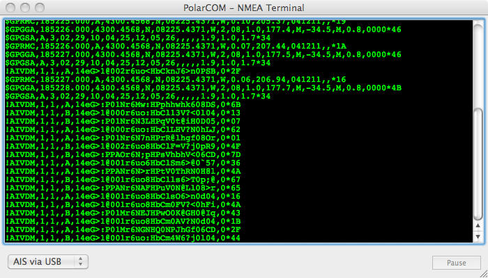 Screen capture of NMEA terminal window in PolarCOM.