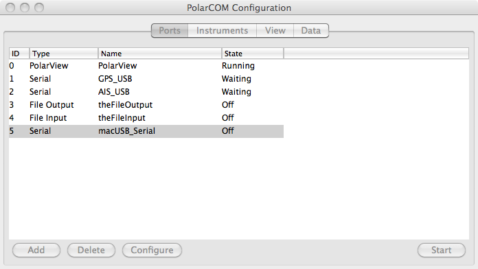 Screen capture of PolarCOM configuration window