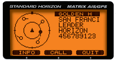 Front panel display of Standard-Horizon GX2200 in AIS mode