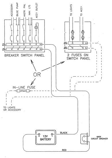 Generic pictorial diagram of Boston Whaler small boat electrical wiring
