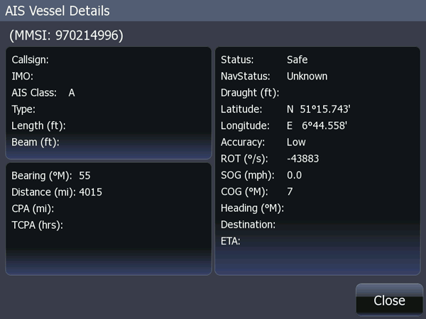 Screen capture: Details of AIS target
