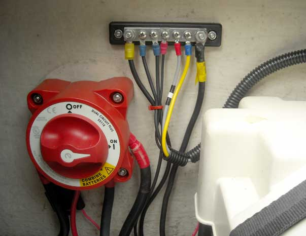 Photo: Blue Sea Systems 5511e battery switch installation.
