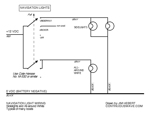 continuouswave whaler reference navigation light switch rh continuouswave com wiring diagram for navigation and anchor lights Light Switch Wiring Diagram