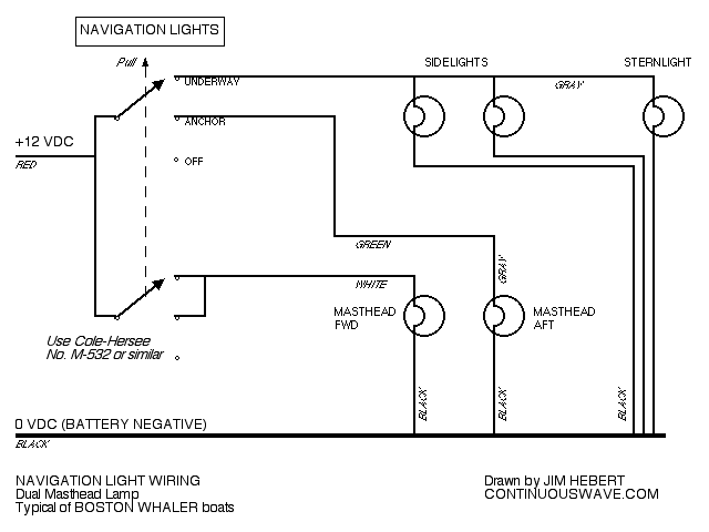 light to light wiring diagram nav light wiring diagram continuouswave: whaler: reference: navigation light switch