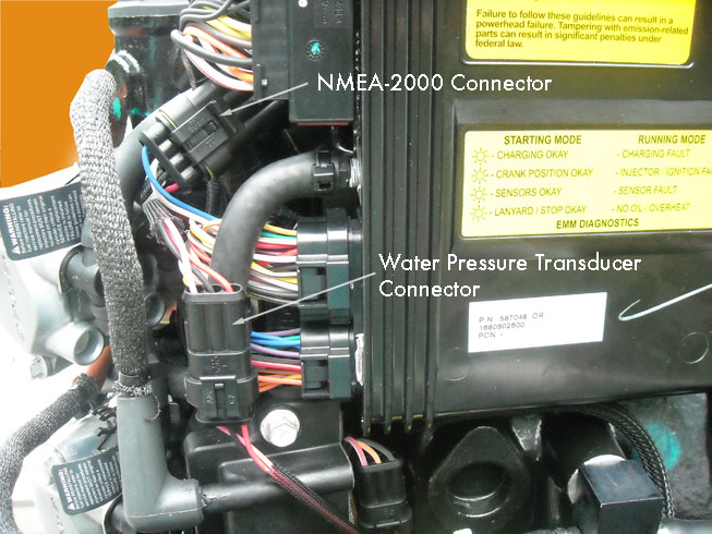 Photo: location of NMEA-2000 connector and water pressure sender connector on 3.3-liter V6 E-TEC