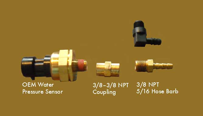 Photo: Water pressure sensor and some necessary fittings