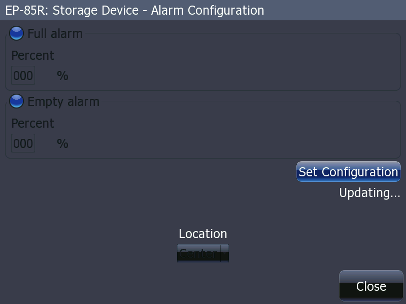 Screen capture: EP-85R Alarm Configuration