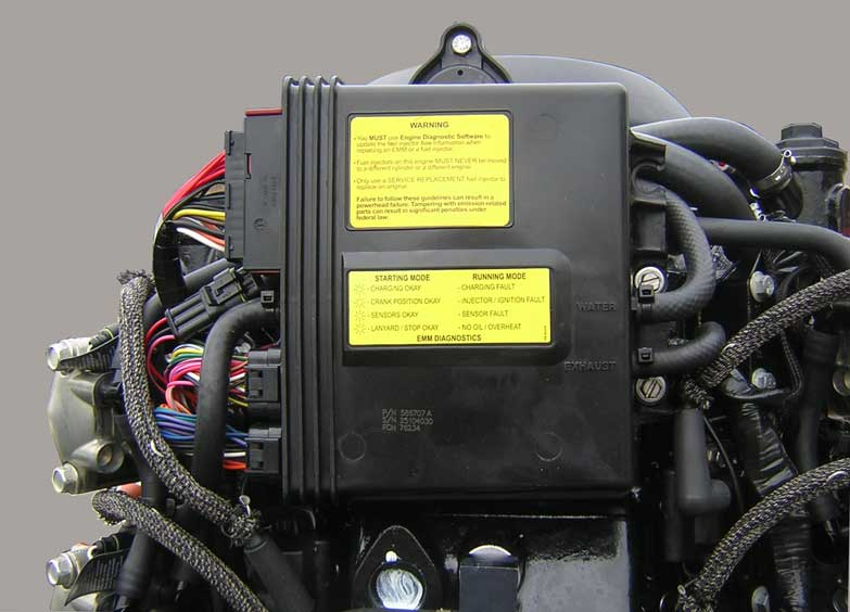 [Photo: Evinrude 225-HP E-TEC Outboard close-up of Electronic Management Module EEM.]