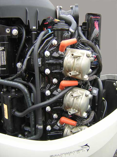 [Photo: Evinrude 225-HP E-TEC Outboard close-up port aft side of engine.]