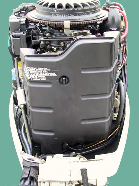 [Photo: Front view Evinrude 225-HP FICHT Outboard]