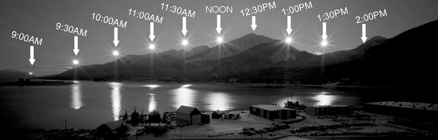 Photo: multiple explosure images shows track of sun in sky at Juneau, Alaska on Winter Solstice.