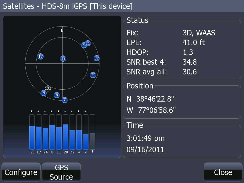 Graphic: HDS GPS receiver display of satellite position and signal strength