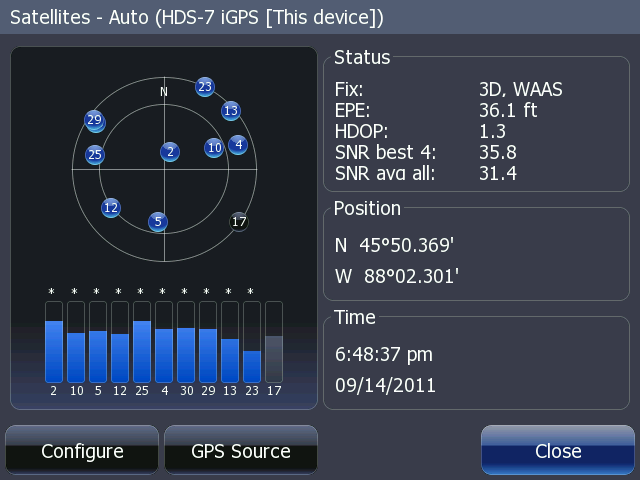 Graphic: Screen shot of HDS display of satellite status showing WAAS but no WAAS PRN in sky view