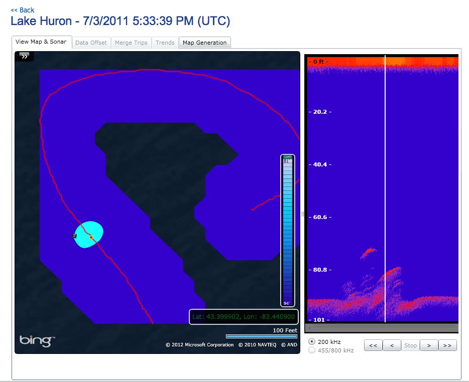 Lowrance Insight Genesis rendering of SONAR data