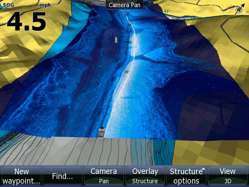 Screen capture of StructureMap feature on Lowrance HDS Gen2