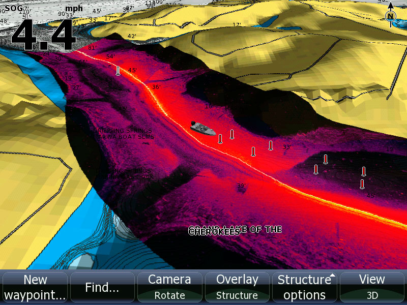 Screen capture of StructureMap View on Lowrance