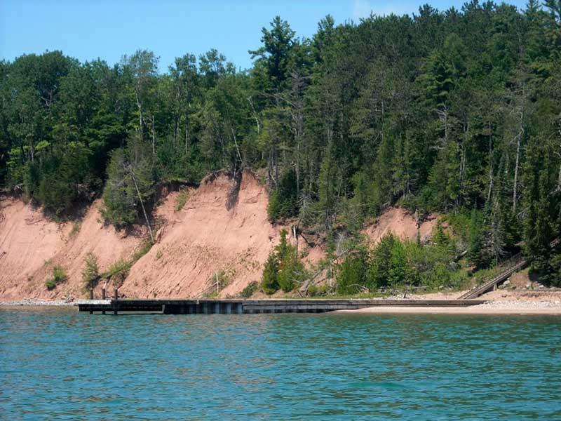 Photo-image: dock at Michigan Island seen from seaward