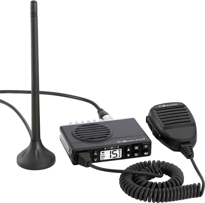 Photo: Midland MTX100 GMRS radio with magnetic mount antenna