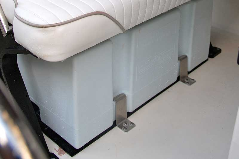 Photo: Moeller 24-gallon fuel tank installed under Boston Whaler reversible pilot seat, forward view