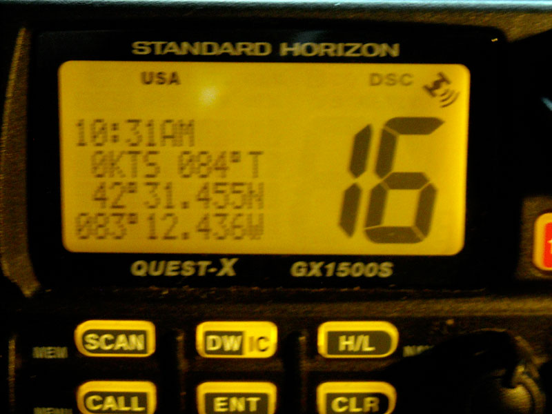 Photo: GX1500S radio display showing navigation data