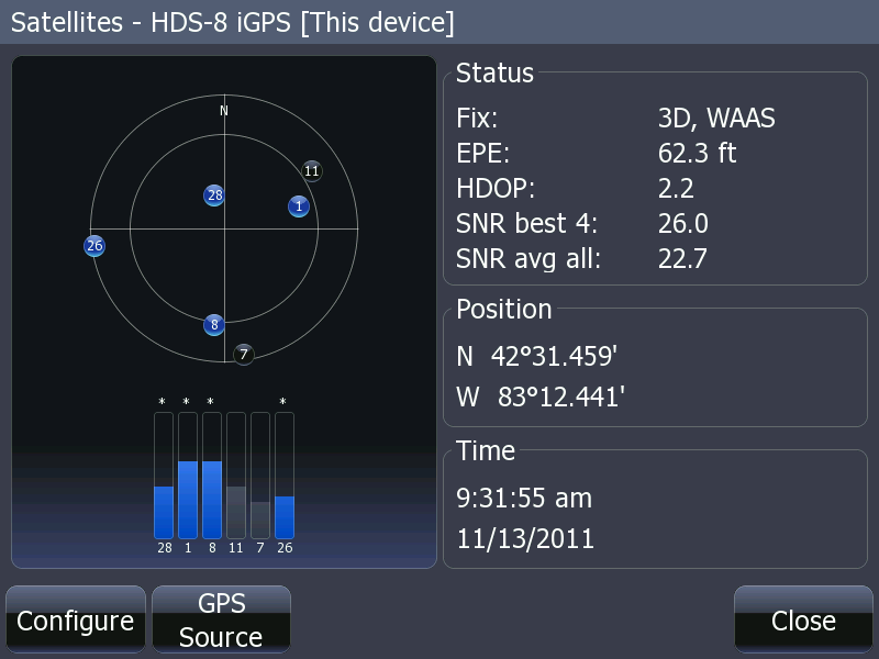Screen capture of HDS satellite status display