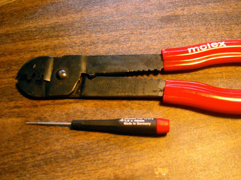Photo: crimp tool and small screwdriver