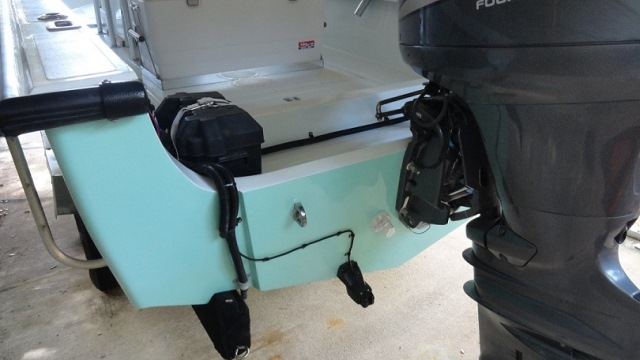 Airmar P66 mounted on transom of Boston Whaler OUTRAGE 22