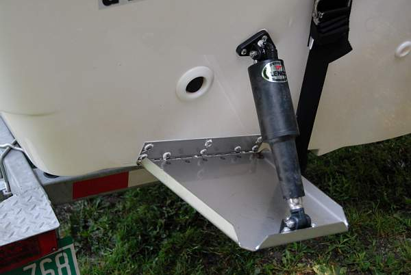Photo: Trim tab installation on 190 NANTUCKET with swim platform option.