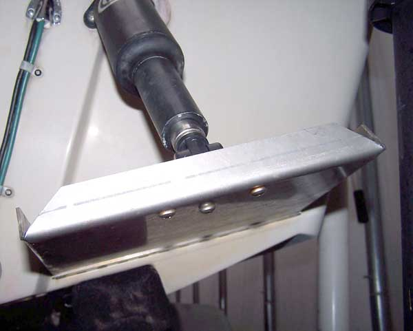 Photo: Trim tab installation showing relationship of tab surface to hull surface.