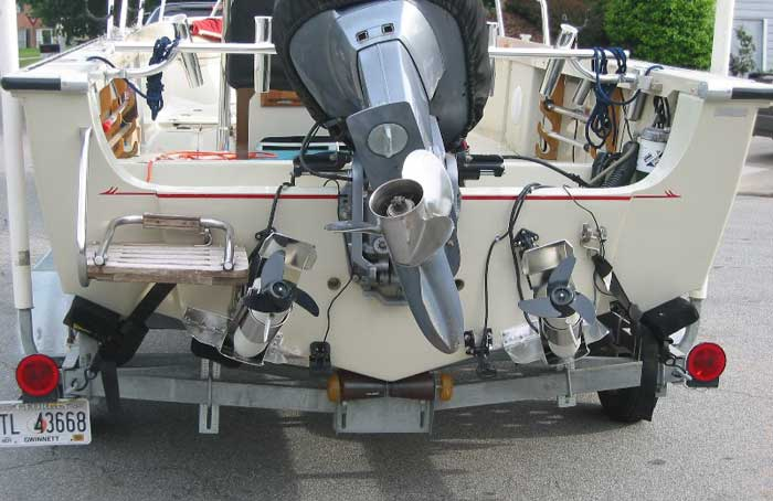 Photo: Trim tab installation showing electric trolling motors on tabs.