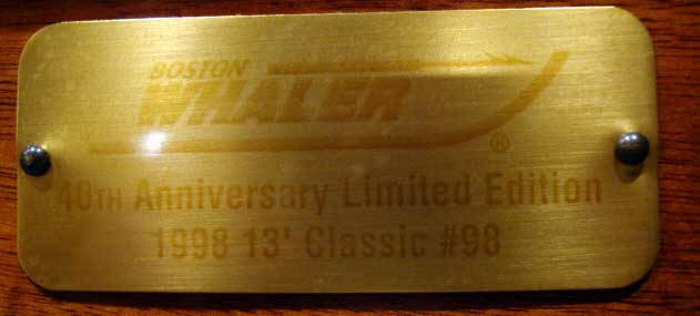 Photo: Boston Whaler 40th Anniversary Edition 13-foot boat plaque attached to console with serial number.