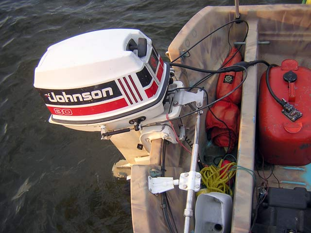 Photo: Mechanical cable steering added to older Boston Whaler boat with 15-inch transom