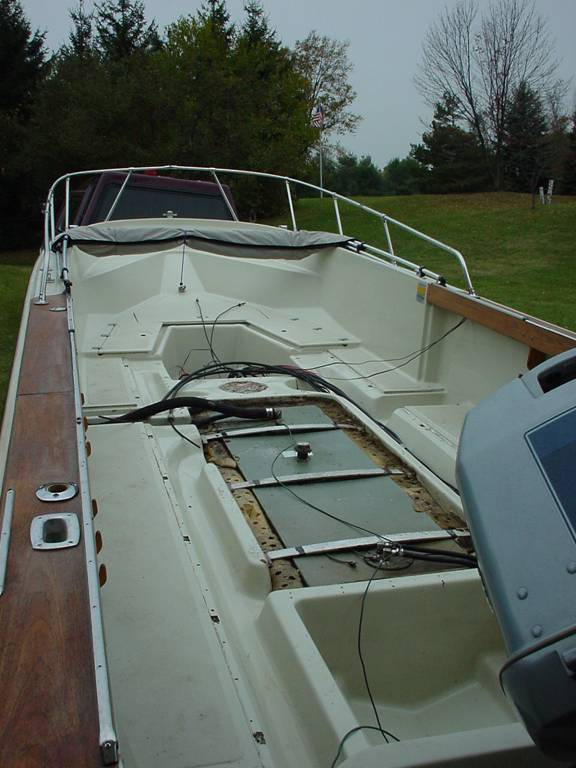 Photo: Boston Whaler 22-foot hull with deck removed to show hull and liner.