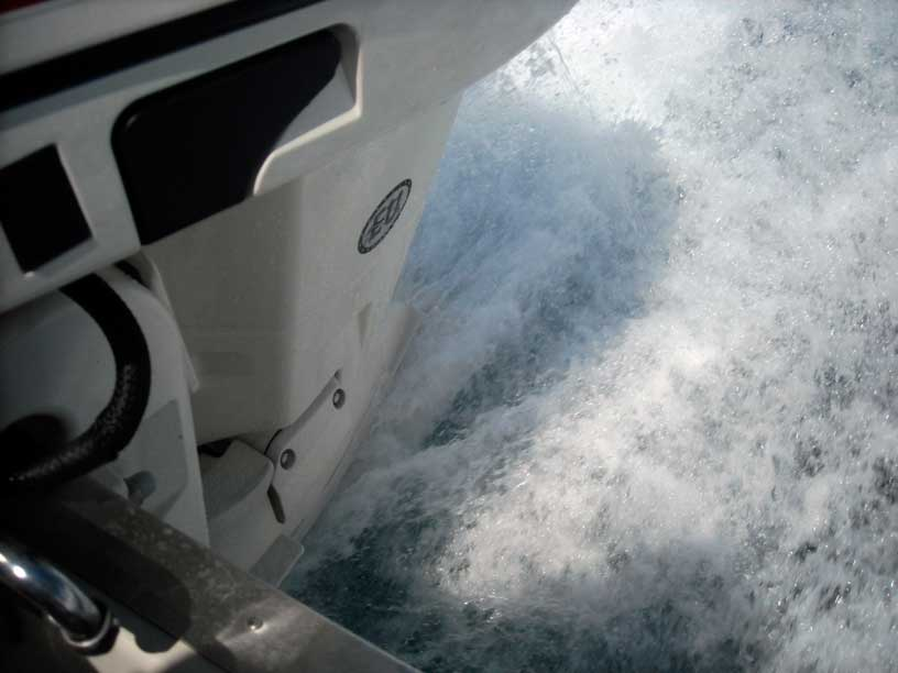 Photo: E-TEC engine on Whaler Drive at one-hole-up mounting height
