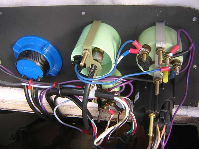 Photo: Close-up view of instrument terminals and wiring.